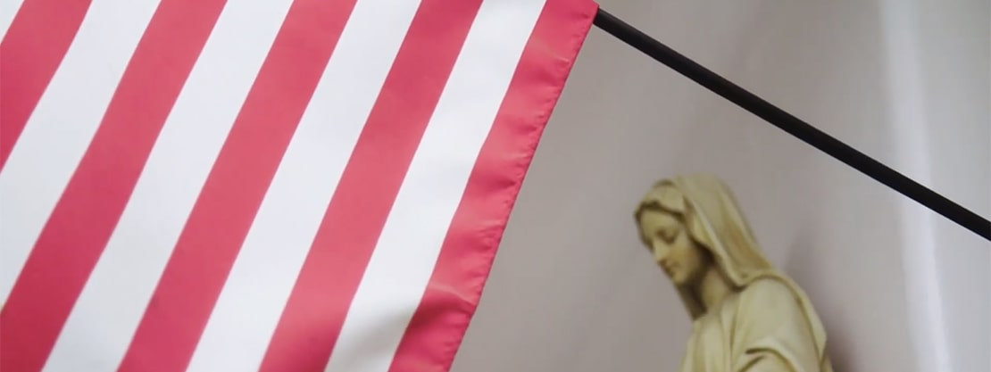 Mary and American flag